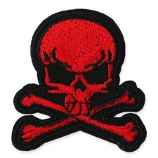 RED CROSSBONES SKULL MOTIF IRON ON EMBROIDERED PATCH APPLIQUE